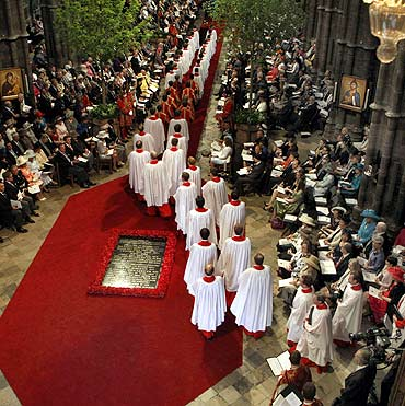 General view in Westminster Abbey before the royal wedding.