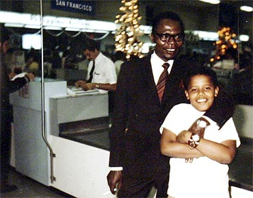 Barack Obama wth his father Barack Obama, Sr., in this undated family snapshot
