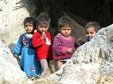 Dalit children on the outskirts of a village in Uttar Pradesh