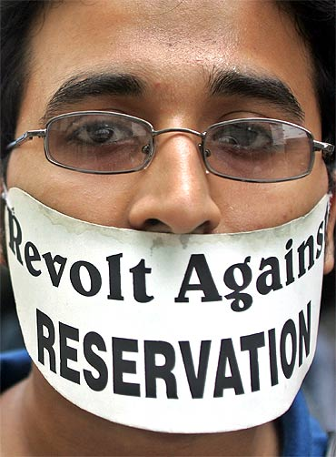 A student protests against reservations in educational institutions