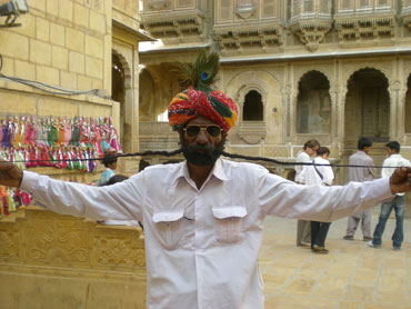 A man flaunts his moustache in Jaisalmer, Rajasthan