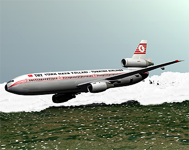 An artist's rendition of the Turkish Airline crash