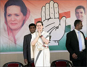 Sonia Gandhi at a rally in Gujarat