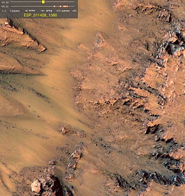This image shows warm-season features that might be evidence of salty liquid water active on Mars today