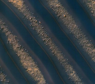 Dunes of sand-sized materials have been trapped on the floors of many Martian craters. This is one example, from a crater in Noachis Terra, west of the giant Hellas impact basin
