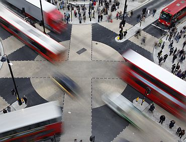 Traffic crosses over the new diagonal crossing at Oxford Circus in London