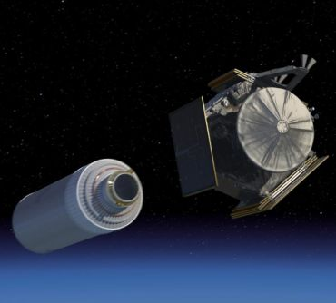 This still image from a Juno mission animation shows the spacecraft soon after launch as it separates from its Centaur upper rocket stage. The Juno spacecraft is in its stowed-for-launch configuration here, with its three large solar arrays folded against its sides