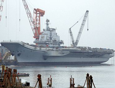 China's first aircraft carrier at the Dalian Port in northeast Liaoning province