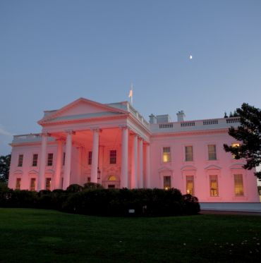 The White House, seen from the North Grounds, is bathed in pink light in honor of Breast Cancer Awareness