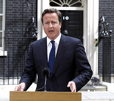 Britain's Prime Minister David Cameron gives a statement outside 10 Downing Street in London