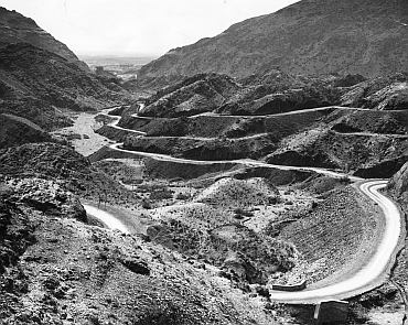 The road through the Khyber Pass on the north-west frontier of India (later Pakistan)