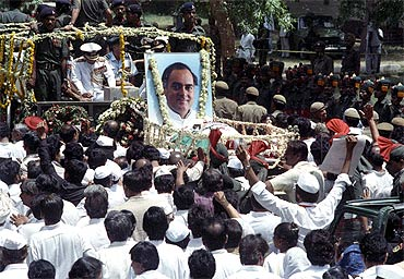 The funeral procession of Rajiv Gandhi in New Delhi