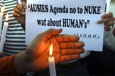 A candlelight vigil protests against the attacks on Indian students in Australia