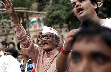 Supporters of activist Anna Hazare at a rally against corruption in Mumbai