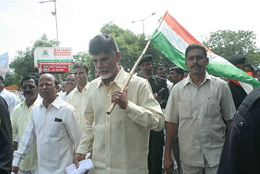 TDP chief Chandrababu Naidu in a protest rally in Hyderabad on Tuesday