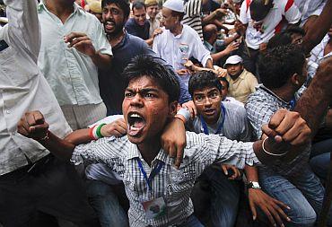 A protest rally in support of Anna Hazare in New Delhi