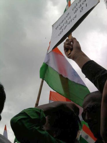 Hazare supporters at a protest rally