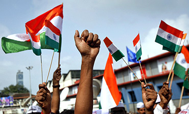 A protest rally in support of Anna Hazare