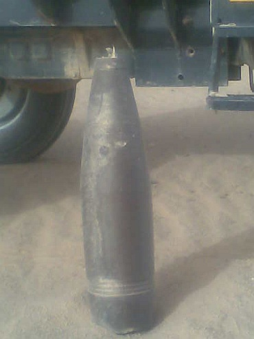 The shell of a used bomb can be seen in this picture clicked by Kalwinder Singh