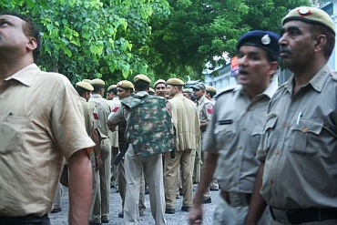 Nervous policemen at the Jantar Mantar