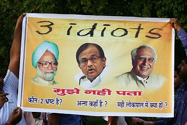 A poster mocking government ministers