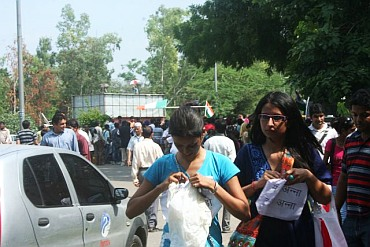 College students outside the Tihar Jail