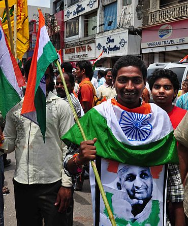 A supporter of Anna Hazare protests in Hyderabad on Wednesday