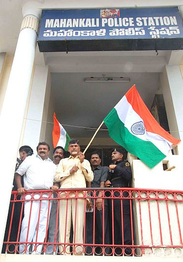 TDP chief Chandrababu Naidu in a dharna outside a police station in Hyderabad on Wednesday