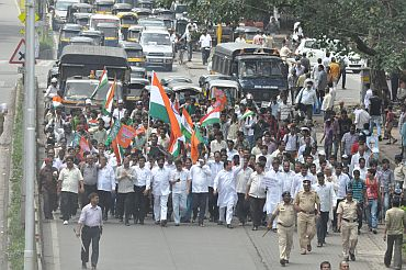 An anti-corruption protest rally organized in Mumbai suburb Boriwali on Wednesday