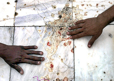 The blood-stained marble floor of the Data Darbar Sufi shrine in Lahore, hours after a suicide blast