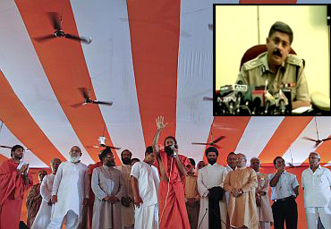 Baba Ramdev addresses his supporters at the Ramlila grounds in New Delhi (Inset) Special Commissioner of police (Law and order)   Dharmender Kumar