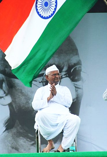 Social activist Anna Hazare at Ramlila Grounds in New Delhi