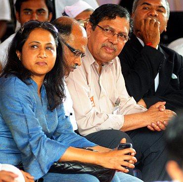 Ex-Lokayukta Karnataka Justice N Santosh Hegde (third from left) at Freedom Park in Bengaluru