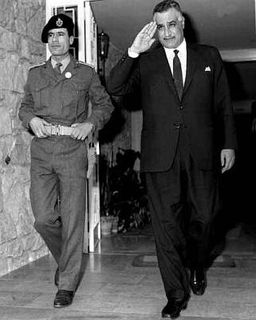 Gaddafi with second President of Egypt Gamal Abdul Nasser Hussein