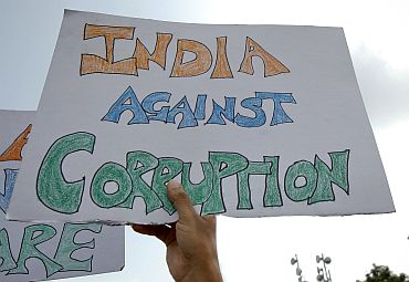 An India Against Corruption volunteer at an anti-corruption protest in New Delhi