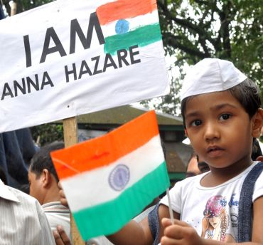 A child participates in one of the rallies held in Guwahati to support Anna Hazare's agitation
