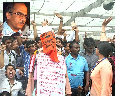 A scene from Ramlila Maidan and (inset) Prashant Bhushan