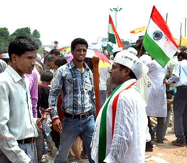 Anna Hazare supporters at Ramlila grounds in New Delhi