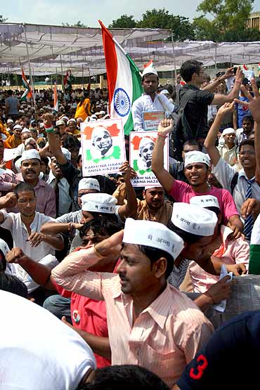Hazare's supporters at Ramlila Maidan