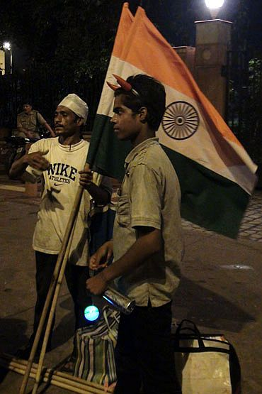 A flag-seller outside the Ramlila Ground in Delhi