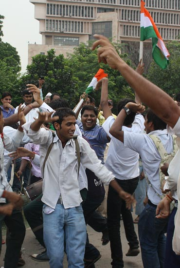 Young men dance at the Ramlila Maidan; photograph only used for representational purposes