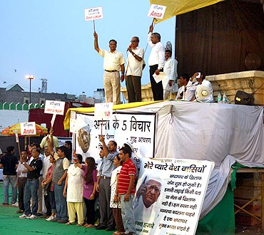 Anna Hazare's supporters at the Ramlila Maidan