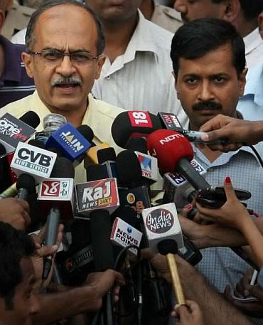Team Anna members Prashant Bhushan and Arvind Kejriwal
