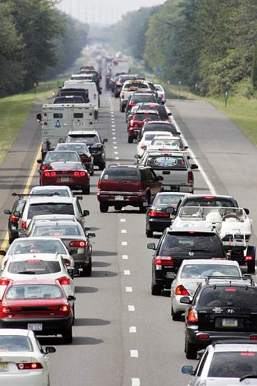 Cars pack the westbound lanes of the Atlantic City Expressway, as thousands of people evacuate the barrier islands along the Southern New Jersey coastline ahead of the landfall of Hurricane Irene