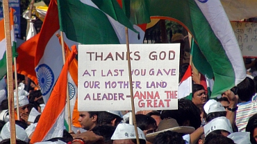 Anna Hazare's supporters at Ramlila Maidan