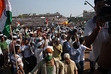 Hazare's supporters break into a celebration