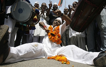 People across the country poured onto the streets to celebrate Hazare's success