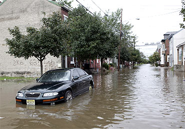 Hurricane Irene swept along the New Jersey shore, knocking down trees, leaving thousands of people without electrical power.