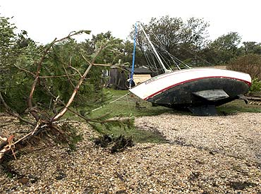 A sailboat that was washed ashore in Hampton Bays, New York.