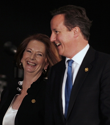Gillard with UK PM David Cameron